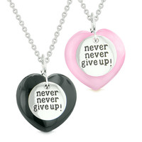 Amulets Never Give Up Love Couples or Best Friends Hearts Black Agate Pink Simulated Cats Eye Necklaces