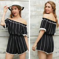 Fashion  Off Shoulder Short Sleeve Stripe Lace Tassel Romper Jumpsuit Shorts