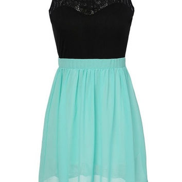 Stylish Lady Women's Patchwork Lace Perspective Sleeveless Dress F_F