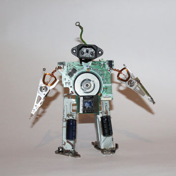 Robot from broken hard drive and computers scrap Toy boy  Miniature droid, Home decor