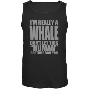 LMFCY8 Halloween Human Whale Costume Black Adult Tank Top