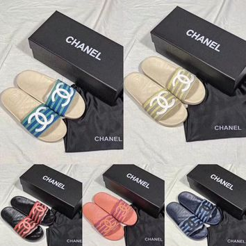 CHANEL super beautiful double C color striped beach slippers