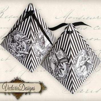 INSTANT DOWNLOAD Alice in Wonderland pyramid box vintage printable images digital collage sheet 402