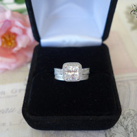 1.5 carat Princess Engraved Halo Engagement Bridal Ring And Wedding Band, Man Made Diamond, Wedding, Sterling Silver, Wedding, Promise Ring