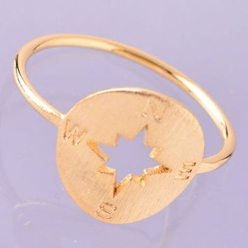 Compass Knuckle Ring - Gold or Silver