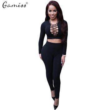 Gamiss Autumn Women Rompers Jumpsuit Winter Fleece Two Pieces Outfits Bodysuit Long Sleeve Lace Up Sexy Club Bodycon Playsuit