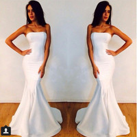 Custom Made Long White 2015 Evening Dresses Strapless Long White Mermaid Prom Dresses PA41