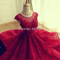 A line Scoop Cap Sleeve Short Prom Dress 8th Grade Prom Dresses vestido de festa curto Red Lace Homecoming Dresses Real Images