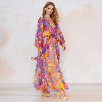 Floral Print Ribbon Belt Bohemian Maxi Chiffon Dress