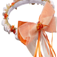 Orange Floral Crown Wreath Handmade with Silk Flowers, Satin Ribbons & Bows (Girls)