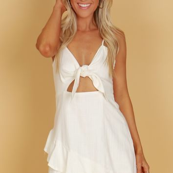 Linen Tie Ruffle Dress White