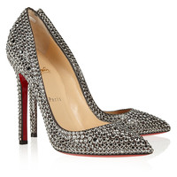Christian Louboutin - Pigalle 120 crystal-embellished suede pumps