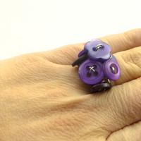Chunky Purple Cocktail Ring - Cluster of Vintage Buttons - Adjustable Ring