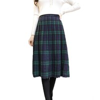 Plaid Skirt Women Long Pleated Skirts British Style Woolen Plaid Skirts Kilt Winter Vintage Wool Tartan High Waist Plaid Skirts