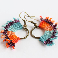 Hoop macrame textile earrings colored blue orange hippie boho