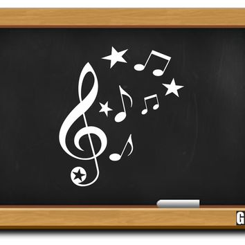 G Clef Treble Clef & Music Notes Decal - C2434