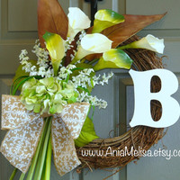 FALL WREATH, summer wreaths monogram, personalized wreaths front storm door calla lily burlap bow wreaths