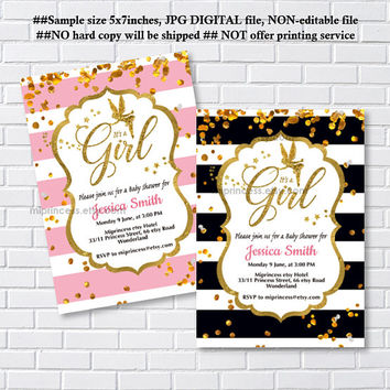 Baby Shower Invitation,  gold fantasy fairy girl Shower Invite party Invitation, baby girl shower, baby shower- card 1208