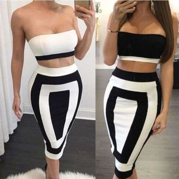 Black and White Two Piece Set Strapless Women Bodycon Dress