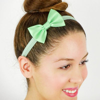 Mint Baby Headband Womens Hair Accessories Girls Headband Elastic Bow Mint Bow Headband Mint Women's Headband Baby Hair Bows Blue Green Bow