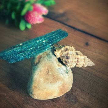 Natural shell bracelet,multilayer bracelet,boho,glas perls bracelet,ocean bracelet,memory wire,Blue armlet,real sea shell,wrap bracelet