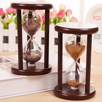 DIY Vintage Hourglass Crafts Antique Style Sand Clock Calculagraph Brushing Make Tea Garden Ornaments Wood Saat Timer  7x7x12CM