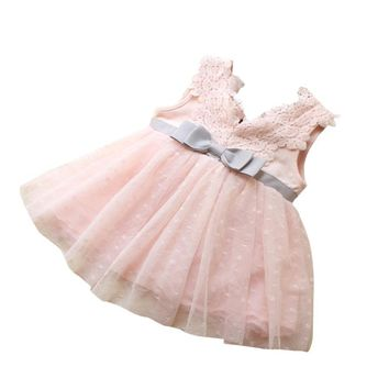 Girls Dress Summer 2018 Baby Kids Bowknot Lace Princess Bridesmaid Pageant Tutu Dresses Tulle Gown Vestidos De Ninas @7116