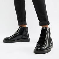 ASOS DESIGN Amellie leather lace up chain ankle boots at asos.com