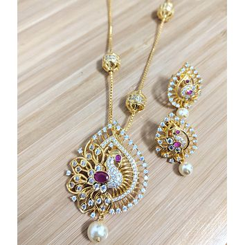 Peacock design one gram gold polished CZ stone Pendant with ball chain necklace and stud earring set