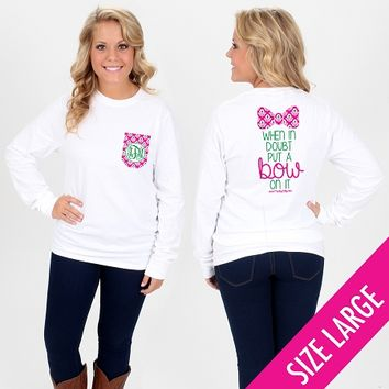 Monogrammed Ikat Put A Bow On It Long Sleeve Pocket T-Shirt