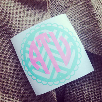 Monogram car decal initials chevron monogram border chevron sticker car monogram sticker chevron monogram car decal scalloped edge border