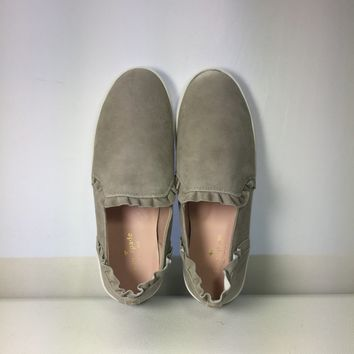 Kate Spade New York Grey Lilly Ruffle Slip-On Sneaker, Size 10M