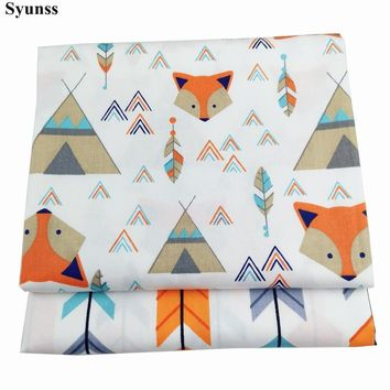 Syunss Cartoon Fox Arrow Print Twill Cotton Fabric DIY Handmade Sewing Patchwork Baby Cloth Bedding Textile Quilting Tilda Tissu