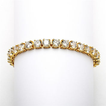 14K Gold Plated Bridal or Prom Tennis Bracelet in Petite Size