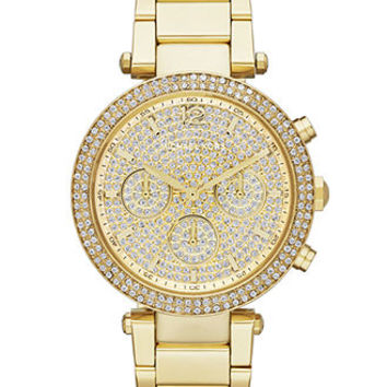 Michael Kors Watch, Women's Chronograph Parker Gold-Tone Stainless Steel Bracelet 39mm MK5856 - A Macy's Exclusive