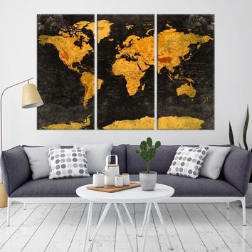85901 - Geographic World Map Canvas Print, Detailed World Map Wall Art Print, Framed, Ready to Hang, Vintage Futuristic World Map Wall Art