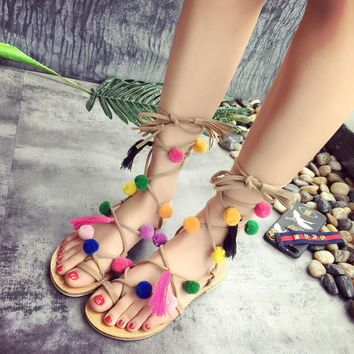 Bohemian Up Open Toe Sandals Handmade Rome gladiator sandals women Flats Fringed Fur Cross Strap Poms Woman Sandals Shoes 2668