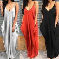 Hot Sale 2017 Women Summer Sexy Spaghetti Strap Long Dress Solid Sleeveless Loose Dresses Plus Size Casual Maxi Vestidos