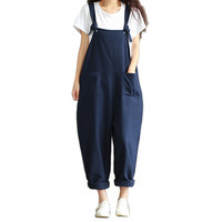 Fashion Women Casual Loose Navy Cotton Jumpsuit Strap Dungaree Harem Pants Overalls