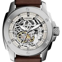 Women's Fossil 'Modern Machine' Skeleton Dial Leather Strap Watch, 50mm - Brown/ Silver