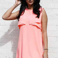 Pleat Frill Overlay Shift Dress in Neon Coral
