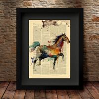 Horse Print, Horse Art, Wall Art Poster, Home Decor, Horse Poster Illustration Gift, Animal Wall Art, Watercolor Art, Watercolor Print -45