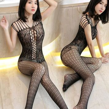 FREE SHIPPING Extreme temptation conjoined fishnet stockings appeal sexy silk stockings female open files tights  IN STOCK