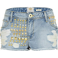 mid wash denim studded rip shorts