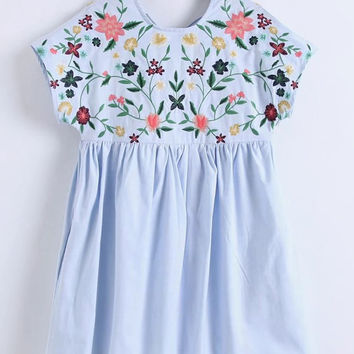 Blue Flower Embroidered Round Neck Cap Sleeve Dress