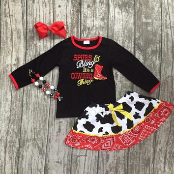"""""""Spurs &  Bling It's a Cowgirl Thing"""" 4PC Outfit Black Red Long Sleeve Top Matching Skirt"""