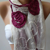 Fuchsia  Roses - /Elegant - Shawl / Scarf with Lace Edge