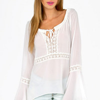 Oh Michelle Lace Trim Tunic $30