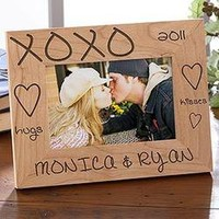Personalized Wood Photo Frames - Hugs and Kisses Design