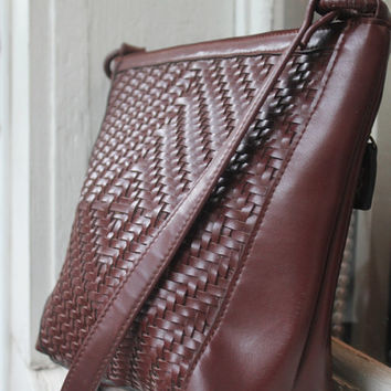 Leather Purse, Brown Handbag, Woven Leather Bag